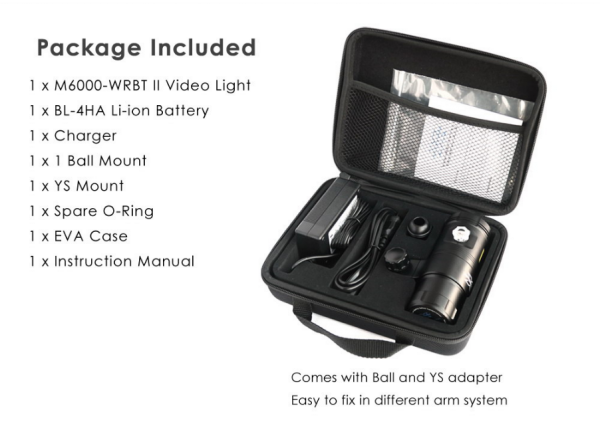 X-adventurer M6000-WRBT II Undetwater Smart Focus Video Light with Strobe Mode